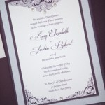 Purple Wedding Invitation with Rhinestones
