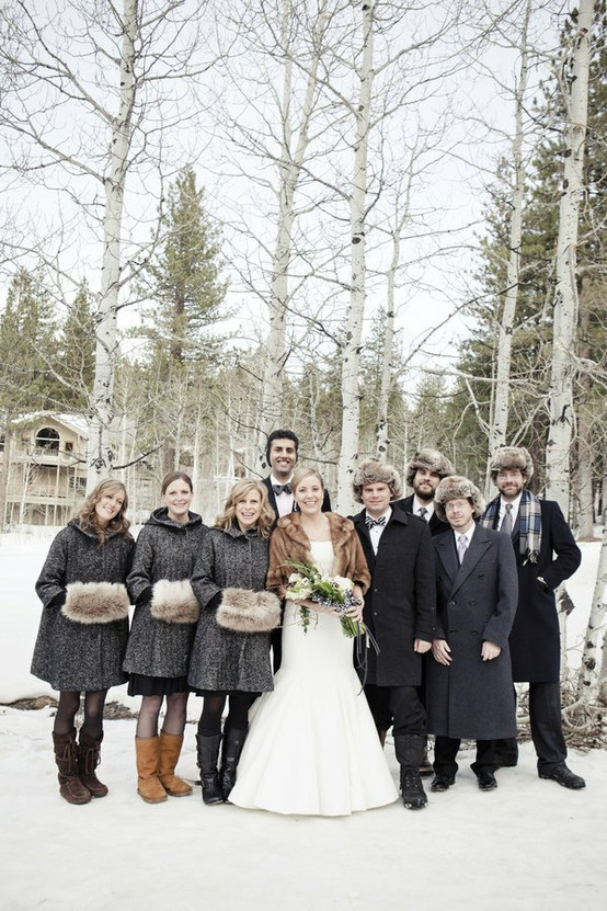 Winter Wedding Bridal Party Fur Muffs Hats